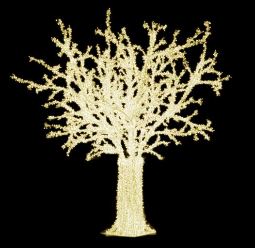 LED strom GX001-LW, teplá bílá, bílý kabel, výška 5 m