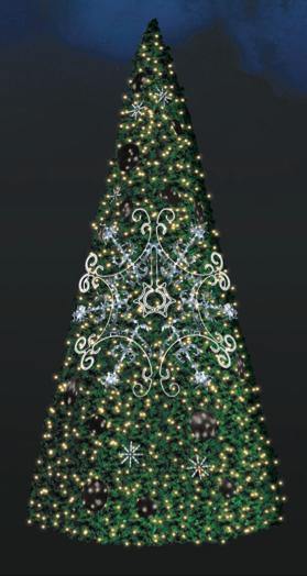 LED strom SND02, teplá/studená bílá, výška 5 m