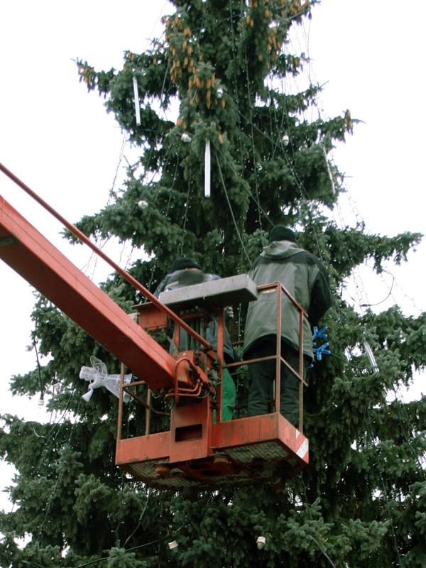 Vánoční strom - montáž výzdoby a světel